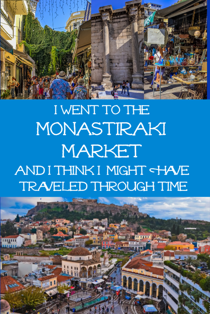 The Monastiraki Market in Athens is a truly iconic site to visit, especially on a Sunday afternoon. It\'s like traveling through time, witnessing multiple eras from history while shopping at the coolest flea market in Greece. You can get anything from souvenirs to handmade purses and sandals at the market. Don\'t forget to see historic sites like Monastiraki Square, the Library of Hadrian, the Roman Agora, a mosque, and an ancient Byzantine Church. | DaisyLuther.com