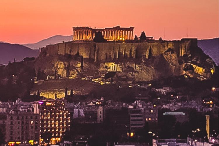 athens sunset acropolis